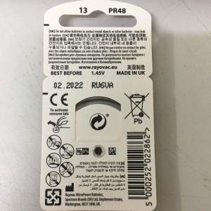 Pin máy trợ thính 13 Rayovac PR48 (vỉ 6 viên)